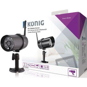 Caméra König d'extérieur Wi-Fi HD IP66, noir pour SAS-CLALARM systèmes