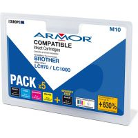 Pack 4+1 Armor compatible Brother LC-970/1000