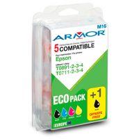 Pack Armor 4+1 compatibles Epson T0711 x2 / T0712 / T0713 / T071
