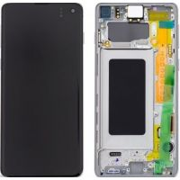 Ecran LCD + Vitre Tactile + châssis Blanc Samsung Galaxy S10 G973F (officiel)