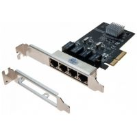 Carte réseau Dexlan pcie 4X Switch 4 ports Gigabit + low profile