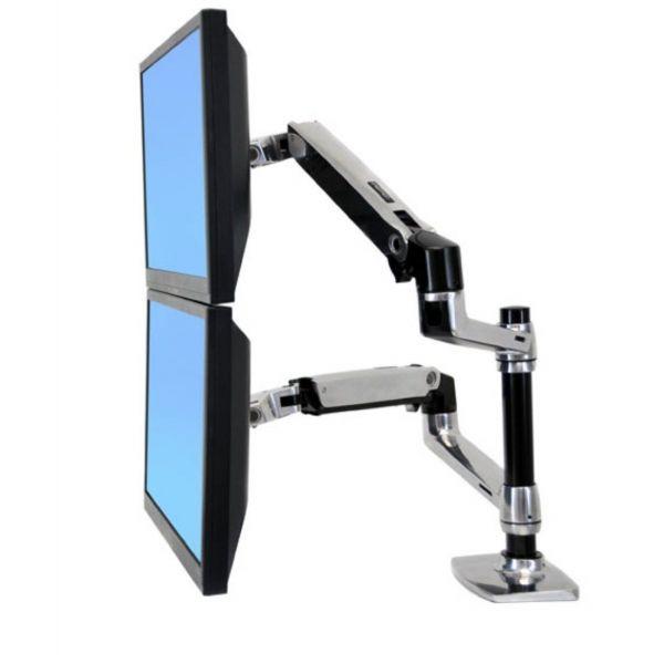support ergotron double bras pour moniteur lcd led caron. Black Bedroom Furniture Sets. Home Design Ideas
